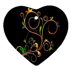 Flowers Neon Color Ornament (heart) by Simbadda