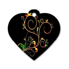 Flowers Neon Color Dog Tag Heart (two Sides) by Simbadda
