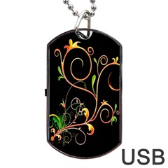 Flowers Neon Color Dog Tag Usb Flash (two Sides) by Simbadda