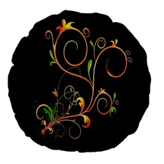 Flowers Neon Color Large 18  Premium Flano Round Cushions by Simbadda