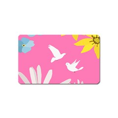 Spring Flower Floral Sunflower Bird Animals White Yellow Pink Blue Magnet (name Card) by Alisyart