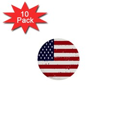 Flag United States United States Of America Stripes Red White 1  Mini Buttons (10 Pack)  by Simbadda