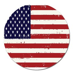 Flag United States United States Of America Stripes Red White Magnet 5  (round) by Simbadda
