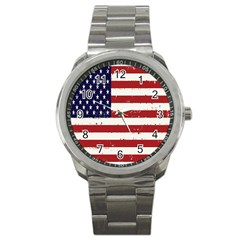 Flag United States United States Of America Stripes Red White Sport Metal Watch by Simbadda