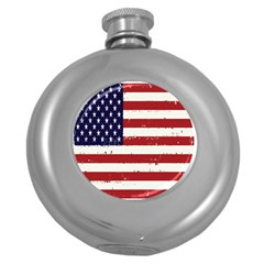 Flag United States United States Of America Stripes Red White Round Hip Flask (5 Oz) by Simbadda