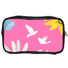Spring Flower Floral Sunflower Bird Animals White Yellow Pink Blue Toiletries Bags 2 Side by Alisyart