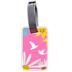 Spring Flower Floral Sunflower Bird Animals White Yellow Pink Blue Luggage Tags (one Side)  by Alisyart