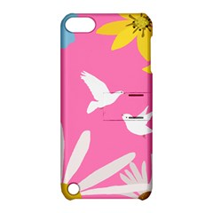 Spring Flower Floral Sunflower Bird Animals White Yellow Pink Blue Apple Ipod Touch 5 Hardshell Case With Stand by Alisyart