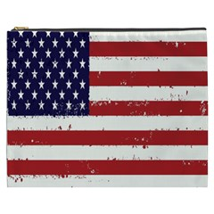 Flag United States United States Of America Stripes Red White Cosmetic Bag (xxxl)  by Simbadda