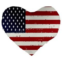 Flag United States United States Of America Stripes Red White Large 19  Premium Heart Shape Cushions by Simbadda