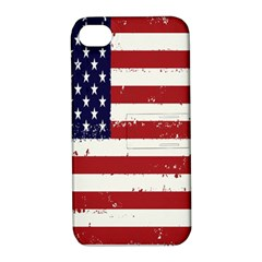 Flag United States United States Of America Stripes Red White Apple Iphone 4/4s Hardshell Case With Stand by Simbadda