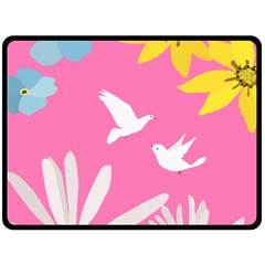 Spring Flower Floral Sunflower Bird Animals White Yellow Pink Blue Double Sided Fleece Blanket (large)  by Alisyart
