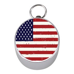 Flag United States United States Of America Stripes Red White Mini Silver Compasses by Simbadda