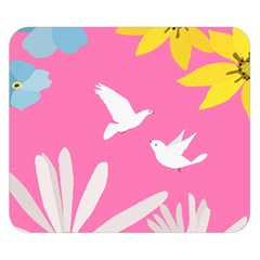 Spring Flower Floral Sunflower Bird Animals White Yellow Pink Blue Double Sided Flano Blanket (small)  by Alisyart