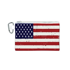 Flag United States United States Of America Stripes Red White Canvas Cosmetic Bag (s) by Simbadda