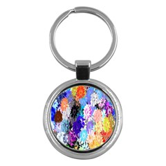 Flowers Colorful Drawing Oil Key Chains (round)  by Simbadda