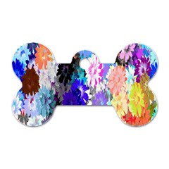 Flowers Colorful Drawing Oil Dog Tag Bone (two Sides)