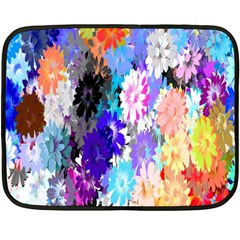 Flowers Colorful Drawing Oil Fleece Blanket (mini) by Simbadda