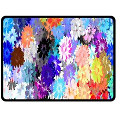 Flowers Colorful Drawing Oil Fleece Blanket (large)  by Simbadda