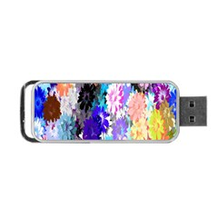 Flowers Colorful Drawing Oil Portable Usb Flash (two Sides) by Simbadda