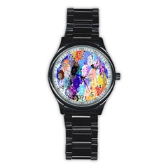 Flowers Colorful Drawing Oil Stainless Steel Round Watch by Simbadda