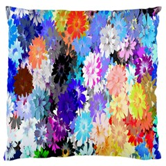 Flowers Colorful Drawing Oil Standard Flano Cushion Case (two Sides) by Simbadda