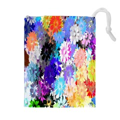 Flowers Colorful Drawing Oil Drawstring Pouches (extra Large) by Simbadda