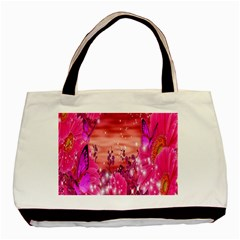 Flowers Neon Stars Glow Pink Sakura Gerberas Sparkle Shine Daisies Bright Gerbera Butterflies Sunris Basic Tote Bag (two Sides) by Simbadda