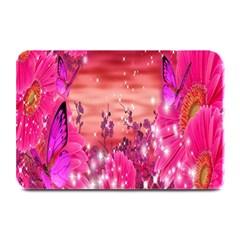 Flowers Neon Stars Glow Pink Sakura Gerberas Sparkle Shine Daisies Bright Gerbera Butterflies Sunris Plate Mats by Simbadda