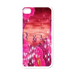 Flowers Neon Stars Glow Pink Sakura Gerberas Sparkle Shine Daisies Bright Gerbera Butterflies Sunris Apple Iphone 4 Case (white) by Simbadda