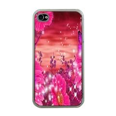 Flowers Neon Stars Glow Pink Sakura Gerberas Sparkle Shine Daisies Bright Gerbera Butterflies Sunris Apple Iphone 4 Case (clear) by Simbadda