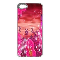 Flowers Neon Stars Glow Pink Sakura Gerberas Sparkle Shine Daisies Bright Gerbera Butterflies Sunris Apple Iphone 5 Case (silver) by Simbadda