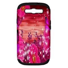 Flowers Neon Stars Glow Pink Sakura Gerberas Sparkle Shine Daisies Bright Gerbera Butterflies Sunris Samsung Galaxy S Iii Hardshell Case (pc+silicone) by Simbadda