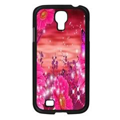 Flowers Neon Stars Glow Pink Sakura Gerberas Sparkle Shine Daisies Bright Gerbera Butterflies Sunris Samsung Galaxy S4 I9500/ I9505 Case (black) by Simbadda