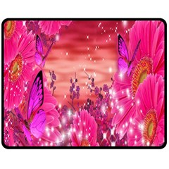 Flowers Neon Stars Glow Pink Sakura Gerberas Sparkle Shine Daisies Bright Gerbera Butterflies Sunris Double Sided Fleece Blanket (medium)  by Simbadda
