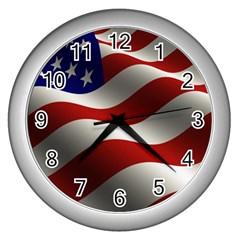 Flag United States Stars Stripes Symbol Wall Clocks (silver)  by Simbadda