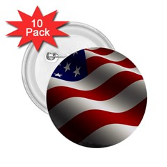 Flag United States Stars Stripes Symbol 2 25  Buttons (10 Pack)  by Simbadda