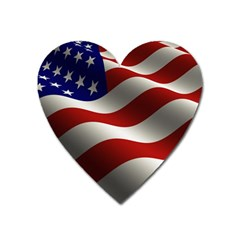 Flag United States Stars Stripes Symbol Heart Magnet by Simbadda