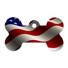 Flag United States Stars Stripes Symbol Dog Tag Bone (two Sides) by Simbadda