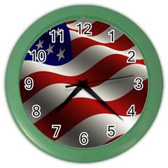 Flag United States Stars Stripes Symbol Color Wall Clocks by Simbadda