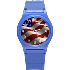 Flag United States Stars Stripes Symbol Round Plastic Sport Watch (s) by Simbadda