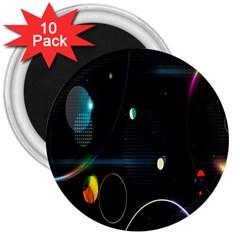 Glare Light Luster Circles Shapes 3  Magnets (10 Pack)  by Simbadda