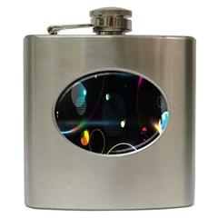Glare Light Luster Circles Shapes Hip Flask (6 Oz) by Simbadda