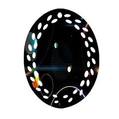 Glare Light Luster Circles Shapes Ornament (oval Filigree) by Simbadda