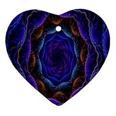 Flowers Dive Neon Light Patterns Ornament (heart)