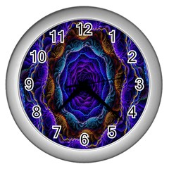 Flowers Dive Neon Light Patterns Wall Clocks (silver)  by Simbadda