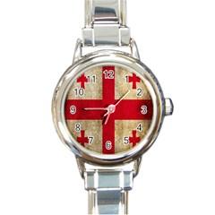 Georgia Flag Mud Texture Pattern Symbol Surface Round Italian Charm Watch by Simbadda