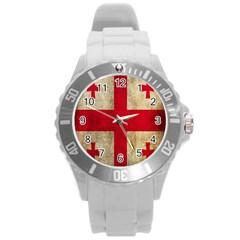 Georgia Flag Mud Texture Pattern Symbol Surface Round Plastic Sport Watch (l) by Simbadda
