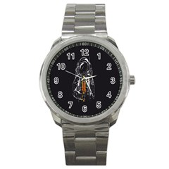 Humor Rocket Ice Cream Funny Astronauts Minimalistic Black Background Sport Metal Watch by Simbadda