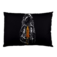 Humor Rocket Ice Cream Funny Astronauts Minimalistic Black Background Pillow Case (two Sides) by Simbadda